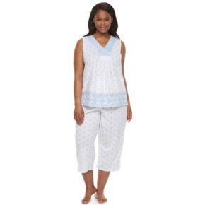 Plus Size Croft & Barrow® Pajamas: Good Morning Border Print Tank & Capris PJ Set