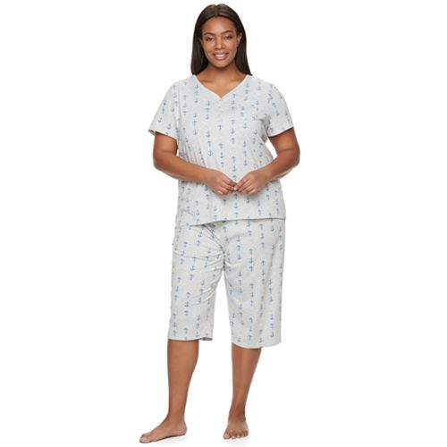 a632023cc Plus Size Croft   Barrow® Pajamas  Skimmer Capris   Sleep henley Sleep Tee PJ  Set
