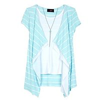 Girls 7-16 IZ Amy Byer Striped Waffle Knit Cozy Top with Necklace