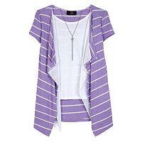 Girls 7-16 IZ Amy Byer Striped Waffle Knit Cozy Top with Necklace