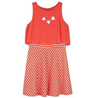 Girls 7-16 IZ Amy Byer Popover Bodice Striped Dress with Necklace