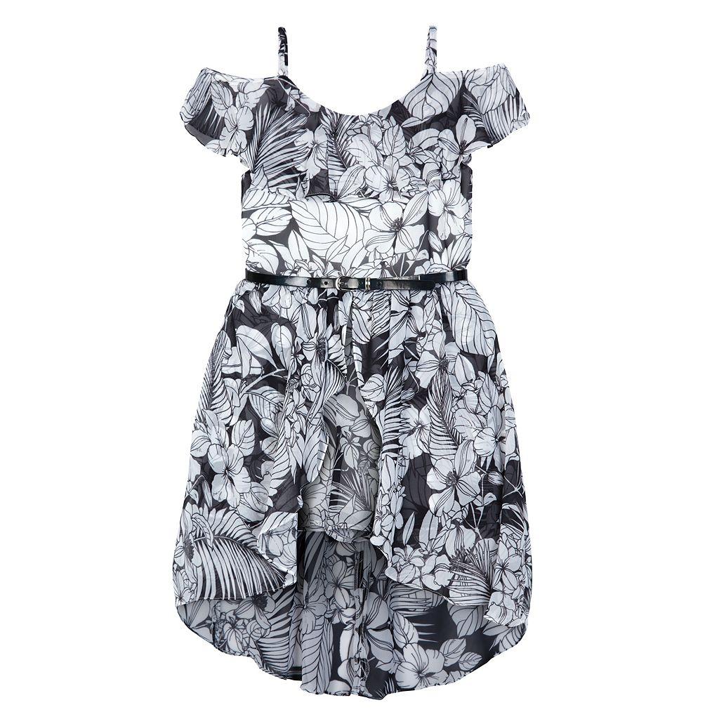 Girls 7-16 Speechless Floral Off Shoulder High-Low Hem Dress