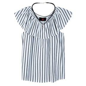 Girls 7-16 IZ Amy Byer Ruffle Stripe Top with Heart Necklace