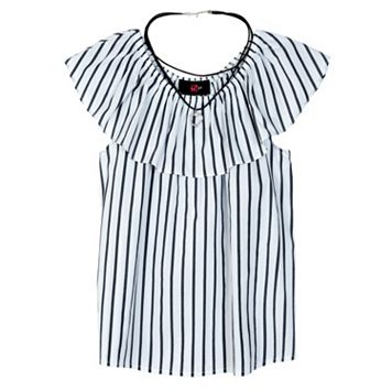 Girls 7-16 IZ Amy Byer Ruffle Stripe Top with Heart Necklace