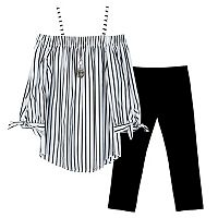 Girls 7-16 IZ Amy Byer 3/4-Length Sleeve Cold Shoulder Striped Top & Capri Leggings Set with Necklace