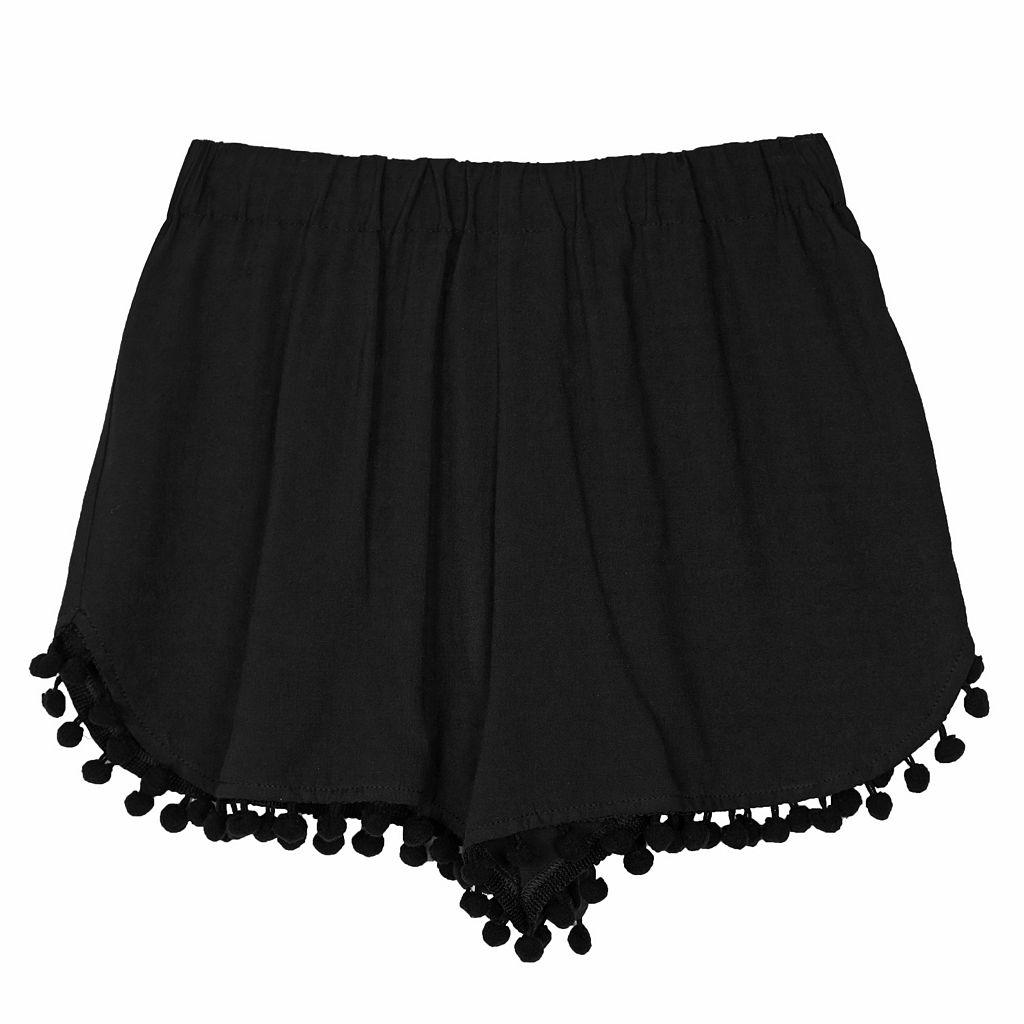 Girls 7-16 IZ Amy Byer Pom-Pom Trim Solid Shorts