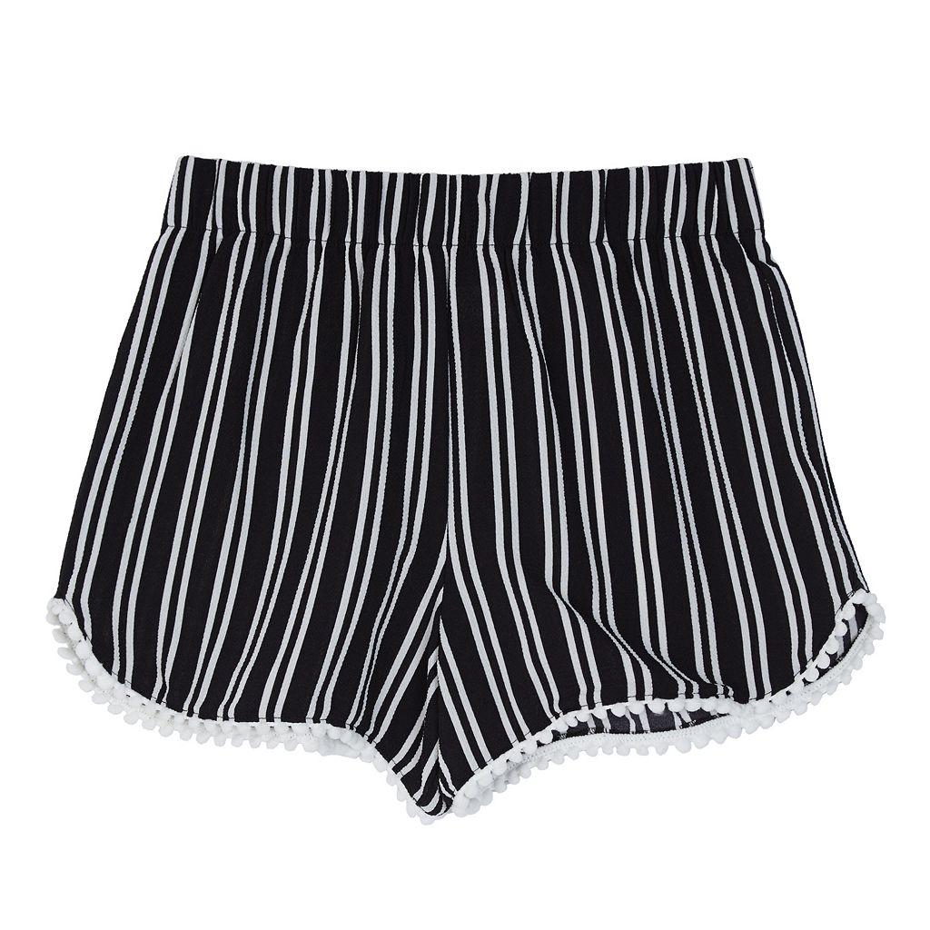 Girls 7-16 IZ Amy Byer Pom-Pom Trim Striped Shorts