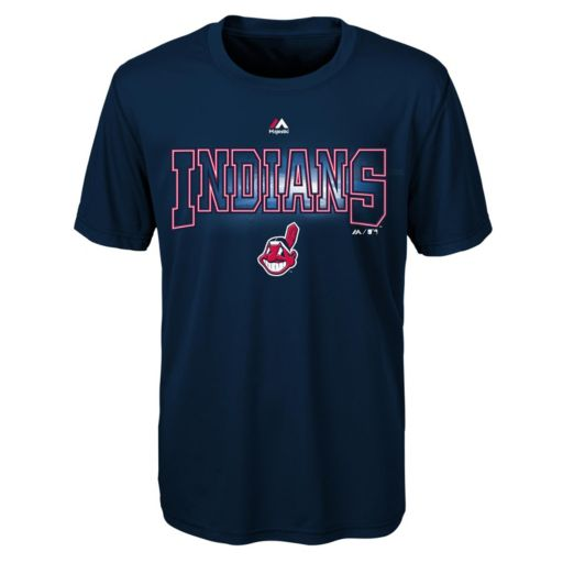 Boys 8-20 Majestic Cleveland Indians Light Up the Field Cool Base Tee