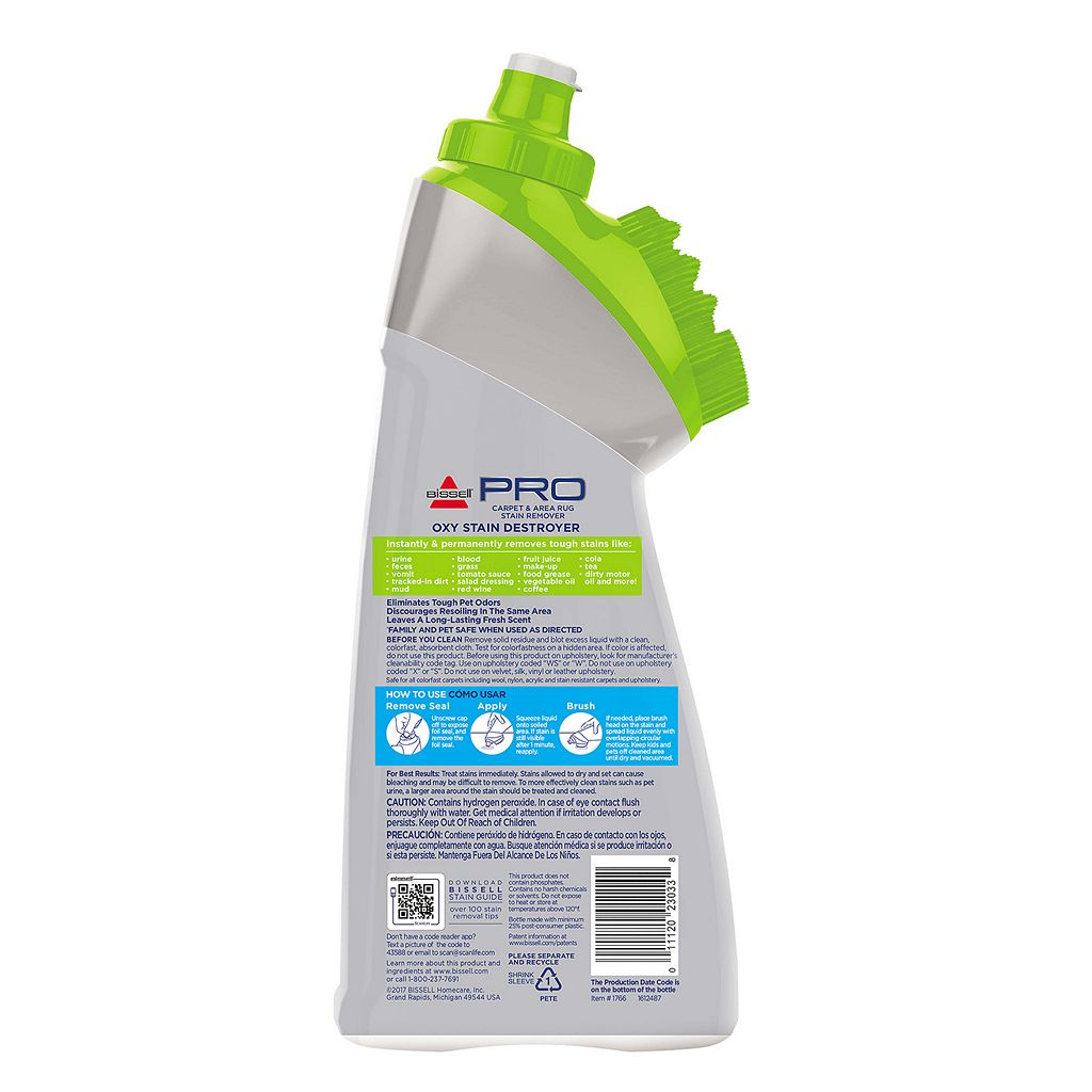 BISSELL Oxy Stain Destroyer Pet Stain Remover with Brush Head