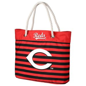 Forever Collectibles Cincinnati Reds Striped Tote Bag