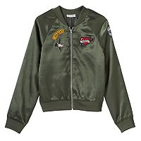 Girls 7-16 Love Fire Patch Silky Bomber Jacket