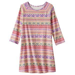 Girls 7-16 & Plus Size Mudd® 3/4-Length Sleeve Patterned Swing Dress