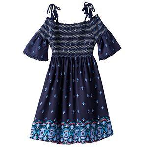 Girls 7-16 & Plus Size Mudd® Off Shoulder Smocked Printed Gauze Dress