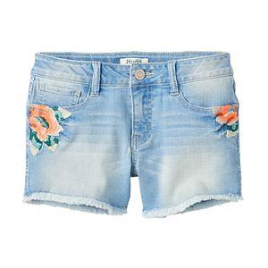 Girls 7-16 Mudd® Light Wash Embroidered Flower Jean Shorts