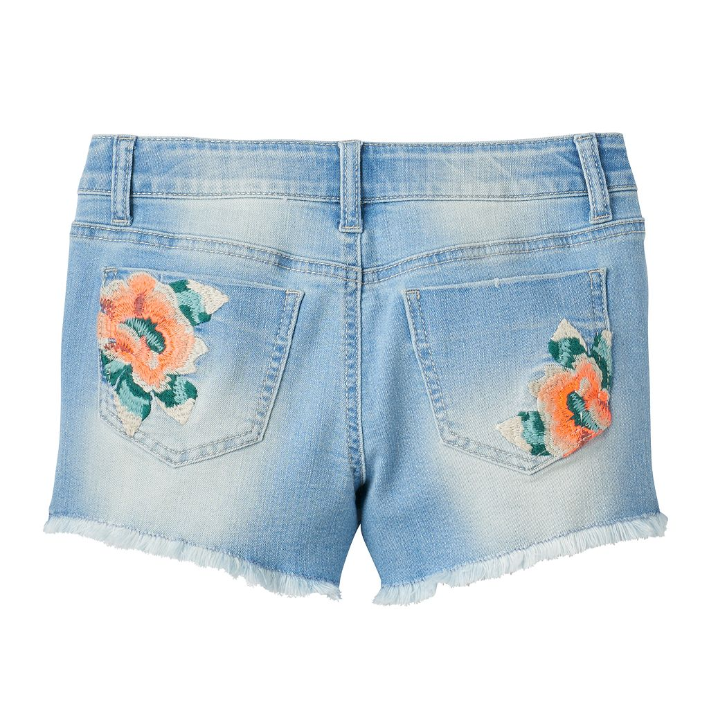 Girls 7-16 Mudd® Light Wash Embroidered Flower Jean Shorts