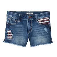 Girls 7-16 Mudd® Dark Wash Embroidered Pocket Jean Shorts