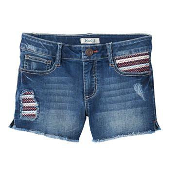 Girls 7-16 Mudd® Dark Wash Embroidered Pocket Jean Shorts