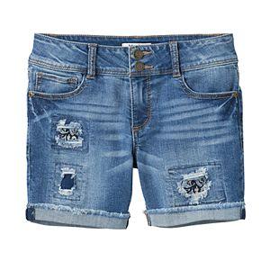 Girls 7-16 & Plus Size Mudd® Dark Wash Patch Midi Jean Shorts