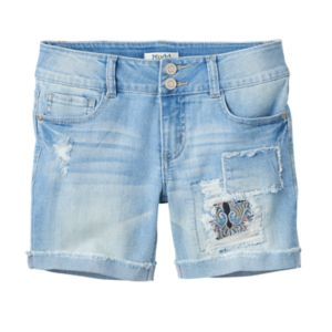 Girls 7-16 & Plus Size Mudd® Light Wash Patch Midi Jean Shorts