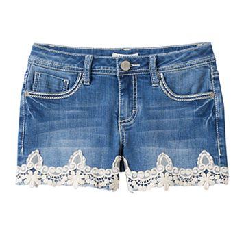 Girls 7-16 & Plus Size Mudd® Crochet Lace Hem Jean Shorts