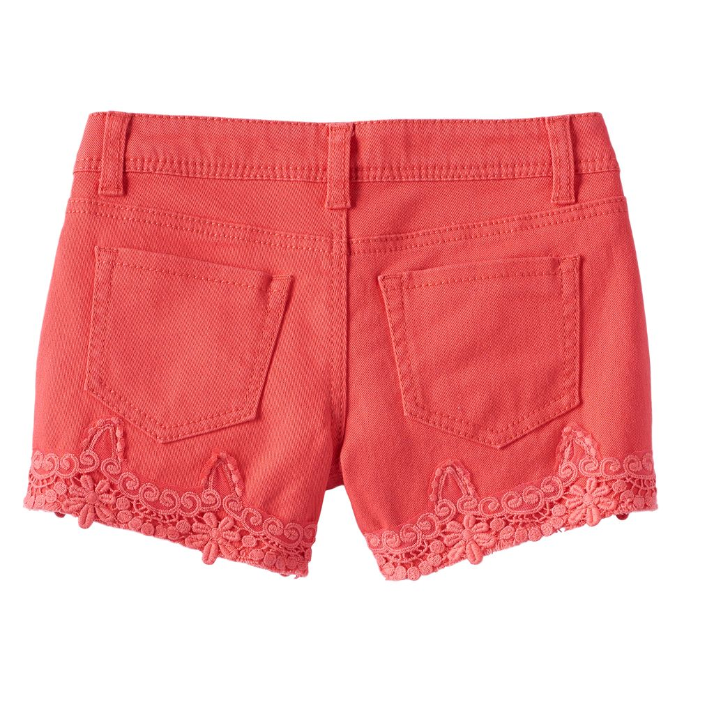 Girls 7-16 & Plus Size Mudd® Color Crochet Trim Him Jean Shorts