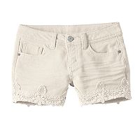 Girls 7-16 & Plus Size Mudd® Color Crochet Trim Him Jean Shorts