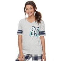 Juniors' SO® Pajamas: Naptime Squad Football Graphic Tee