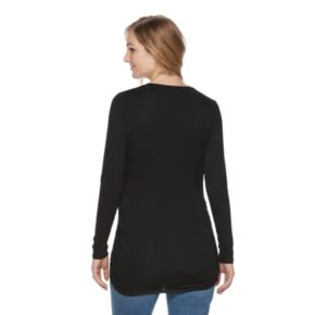 Maternity a:glow Ruched Black V-Neck Tee
