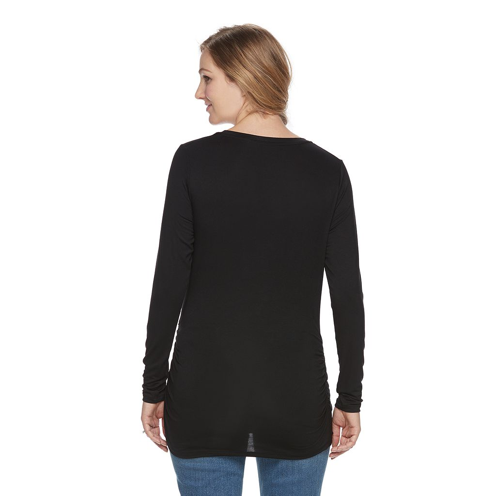 Maternity a:glow Black Ruched Tee