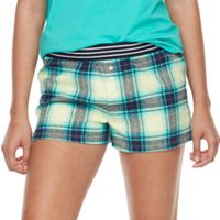 Juniors' SO® Pajamas: Naptime Squad Flannel Boxer Shorts