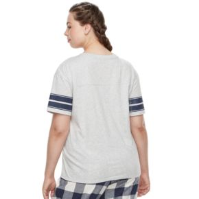 Juniors' Plus Size SO® Pajamas: Naptime Squad Football Graphic Tee