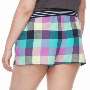 Juniors' Plus Size SO® Pajamas: Naptime Squad Flannel Boxer Shorts