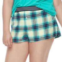 Juniors' Plus Size SO® Pajamas: Naptime Squad Flannel Boxer Shorts