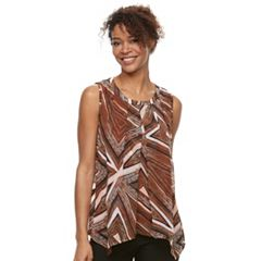 Petite Dana Buchman Pleated Mixed-Media Tank