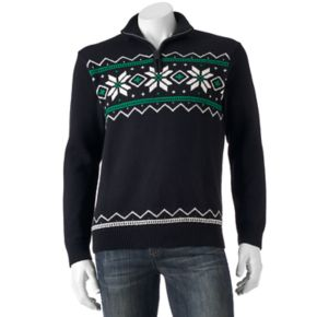 Men's Chaps Classic-Fit Snowflake Quarter-Zip Sweater