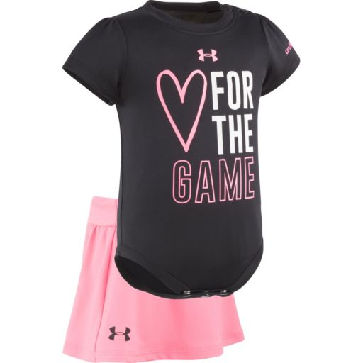 "Baby Girl Under Armour ""Heart For The Game"" Graphic Bodysuit & Skort Set"