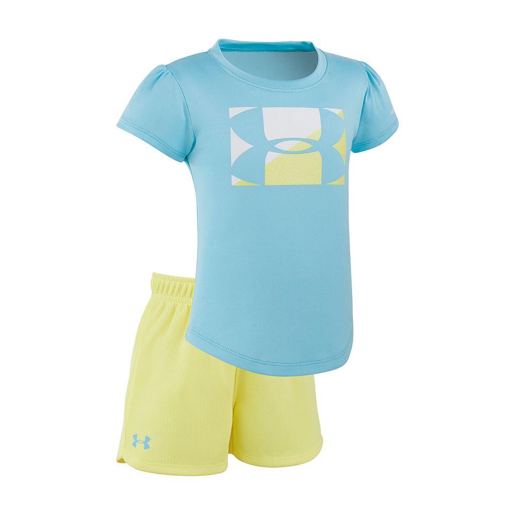 Baby Girl Under Armour Logo Graphic Tee & Mesh Shorts Set