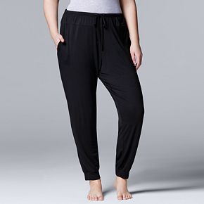 Plus Size Simply Vera Vera Wang Basic Luxuries Banded Bottom Sleep Pants