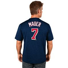 Men's Majestic Minnesota Twins Joe Mauer Player Name and Number Tee