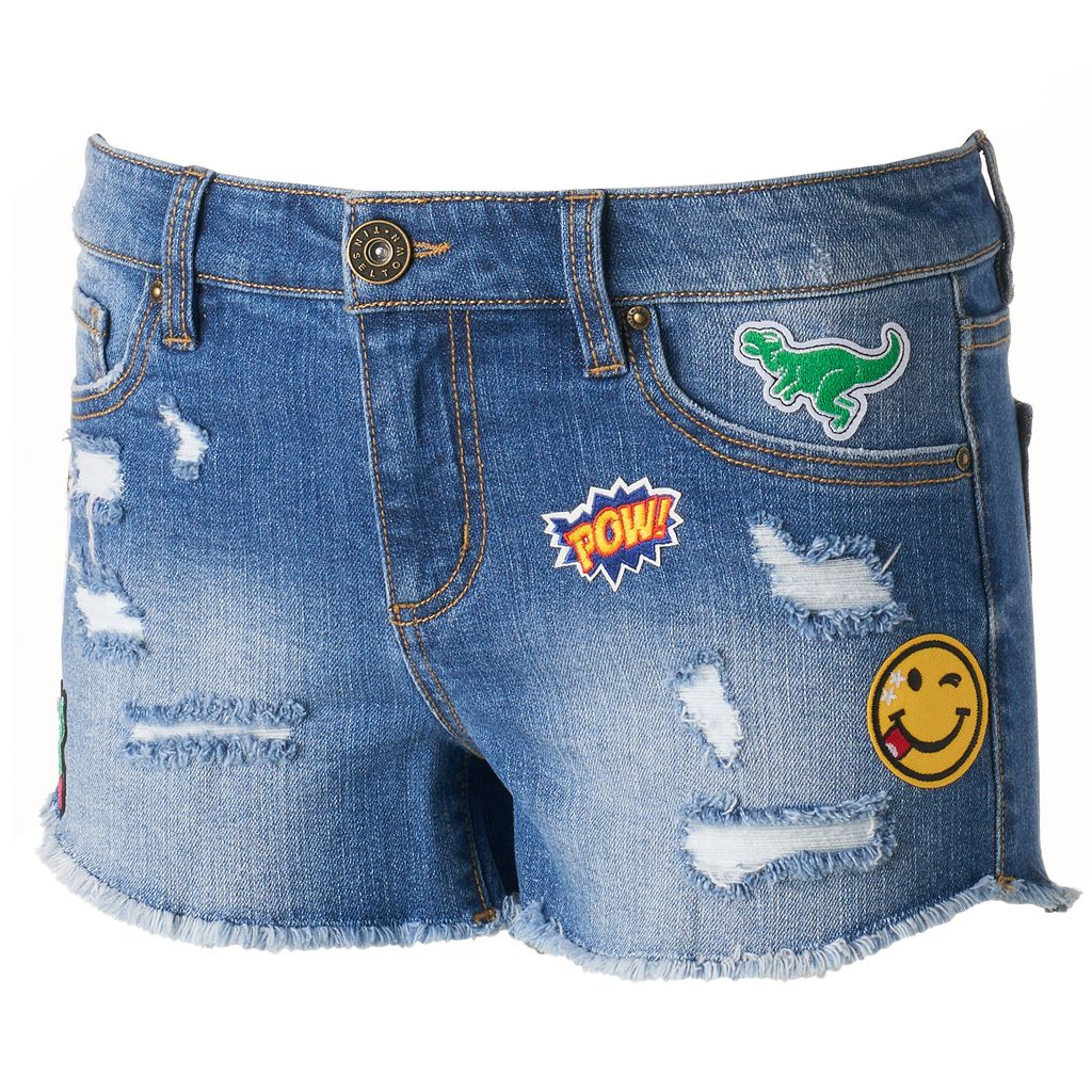 Juniors' Tinseltown Patch Ripped Jean Shortie Shorts