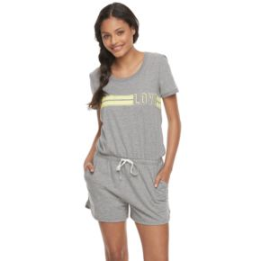 Juniors' SO® Pajamas: Naptime Squad Short Sleeve Romper