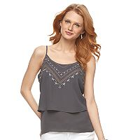 Women's Apt. 9® Embroidered Double-Layer Camisole