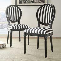 Linon Striped Accent Chair 2 pc Set