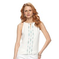Women's Apt. 9® Embroidered Keyhole Tank