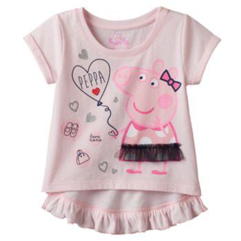 Toddler Girl Peppa Pig Ruffle High-Low Tee