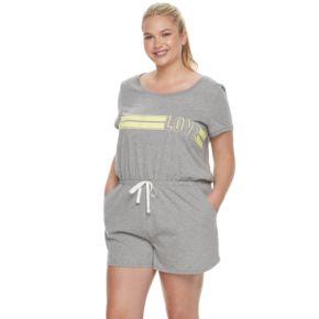 Juniors' Plus Size SO® Pajamas: Naptime Squad Short Sleeve Romper