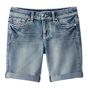 Girls 7-16 Mudd® Flower Embellished Pocket Bermuda Jean Shorts