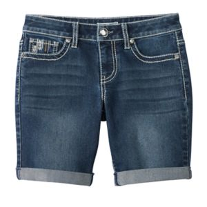 Girls 7-16 Mudd® Embellished Pocket Bermuda Jean Shorts