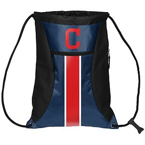 Forever Collectibles Cleveland Indians Striped Zipper Drawstring Backpack