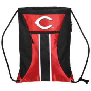 Forever Collectibles Cincinnati Reds Striped Zipper Drawstring Backpack